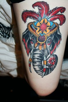 My circus elephant! Done by Shawn McDonald at Black Atlas, Fort...