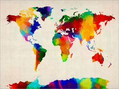 Neon watercolor world map jessica durrant give it pinterest rolled pain world map gumiabroncs Gallery