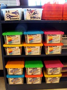 Make labels! Art room organization.  Labels by teachingpalette, via Flickr