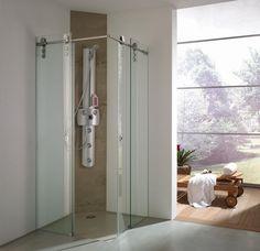 Glazen douchecabine voorzien van een luxe schuifsysteem | badkamer inspiratie | vidre glastoepassingen