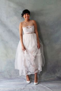 Custom Tea Length Lace and Soft Tulle Wedding dress Sexy by LAmei