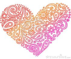 Paisley Henna Sketchy Notebook Doodle Heart by Blue67, via Dreamstime