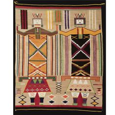 A LARGE NAVAJO TRANSITIONAL RUG woven in handspun and commercially plied wool, probably Germantown, in natural ivory , tan and dark brown and numerous aniline colors, with two dancing Yei figures. by 66 in. Native American Rugs, Native American Artwork, Native American Artists, American Indian Art, Native American History, Native American Indians, Navajo Weaving, Navajo Rugs, Native Indian