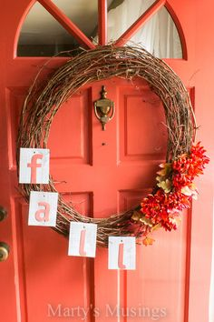 Fall wreath and home