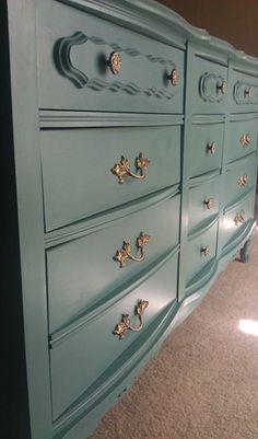 I have this exact dresser! And I am going to do it in a turquoise. I thought about replacing the hardware, but I have it all and I think I'll just use rustoleum instead :-) :-) :-)