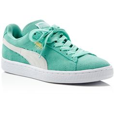 Puma Women's Suede Classic Lace Up Sneakers ($65) ❤ liked on Polyvore featuring shoes, sneakers, zapatillas, green, green suede shoes, green shoes, suede leather shoes, laced up shoes and laced sneakers