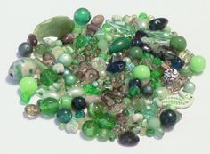3.4 Oz. Mixed Lot of Beads in Shades of Green by BeadsFromHaven on Etsy