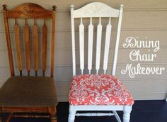 Dining chair makeover using coral damask fabric and white spray paint. Easy!