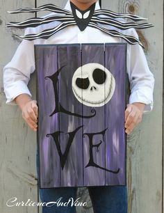 The Nightmare Before Christmas - Pallet Wood - Jack Skellington - Wood - Sign - Upcycled Pallet Wall Art -Jack Skellington Collector Item by CurlicueAndVine on Etsy Fall Halloween, Halloween Crafts, Happy Halloween, Halloween Decorations, Pallet Decorations, Decor Ideas, Decorating Ideas, Halloween Prop, Pallet Ideas For Halloween