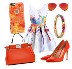 """""""Colorful"""" by hesterstan ❤ liked on Polyvore featuring Gianvito Rossi, Fendi, Ippolita, Casetify and Ray-Ban"""