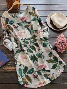 7827cca71fa Round Neck Floral Printed Long Sleeve Plus Size Blouses Dress Manga Floral