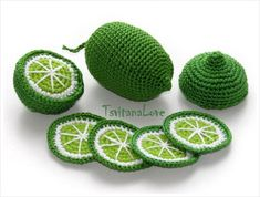 Fruit hook – slice lime pcs +) kitchen play set – play kitchen – tea party toy set – fruit toy – pretend food – Play food Waldorf Gift - New Deko Sites Fruits En Crochet, Crochet Food, Crochet Gifts, Pretend Food, Play Food, Pretend Play, Kitchen Tea Parties, Knitting Patterns, Crochet Patterns