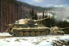 King Tigers in Action by Barry Spicer The Pzkpfw VI Ausf B Tiger II, at just over 70 tons, was a massive and formidable fighting machine. Tiger Ii, Military Paint, Patton Tank, Tank Armor, War Thunder, Armored Fighting Vehicle, Ww2 Tanks, World Of Tanks, German Army