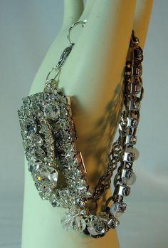 Rhinestone Vintage Assemblage Bracelet OOAK by BeadazzledBySharon, $45.00