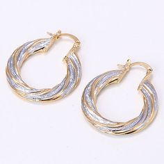 USA Seller Classic Size:30 mmWeight:6.1 Grams 14K 2 Tone White & Yellow Gold Plated  Women\'s Twisted Hoop Earrings w/ French Lock Closure or Catch Clasp 2 Year Warrenty! Retail Value $500.00. Starting at $1