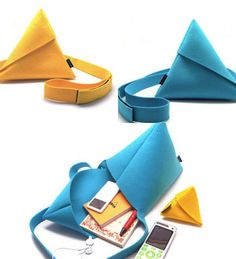 Tetra Bags from Power Architects. These neat bags are folded from a single piece… Origami Bag, Fabric Origami, Diy Clothes Bag, Pochette Diy, Diy Case, Diy Couture, Craft Bags, Leather Craft, Bag Making
