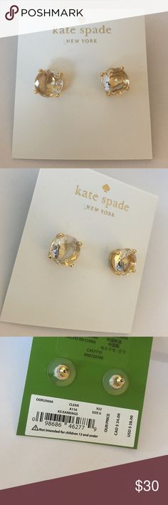 """Kate Spade Stud Earrings Comes with Kate Spade Dust Bag Approx. diameter: 3/8"""". Metal:Gold plated base Material:Crystal.                                                           Color: Clear.                                                                      kate spade Jewelry Earrings"""