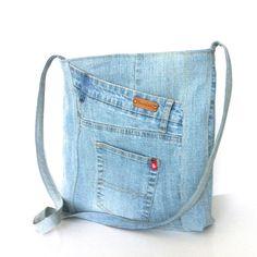 Jean cross body bag , recycled denim messenger bag ,Eco friendly travel bag , school cross over bag