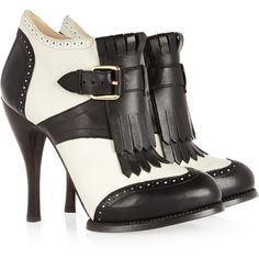 McQ Alexander McQueen Two-tone leather ankle boots ($665) found on Polyvore~~~LOVE