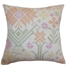 Toss this romantic and chic throw pillow anywhere on your home from your sofa, floor or bed. This accent pillow features a unique cross stitch floral pattern in summer-inspired colors: peach, purple, green and yellow.