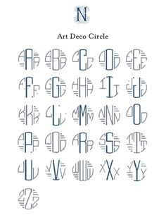 art-deco-font monograms (cross-pinned on Just My Type ...