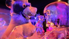 Ice sculptures based on Disney characters are on display at the Snow and Ice Sculpture Festival in Bruges, Belgium.