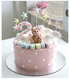 Torta Baby Shower, Baby Shower Pasta, 1st Birthday Cake For Girls, Baby Birthday Cakes, Baby Girl Cakes, Cupcake Cakes, Cupcakes, Teddy Bear Cakes, Bolo Cake