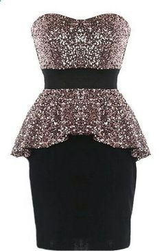 Peplum Panache Dress: Features a super feminine sweetheart neckline, mesmerizing ash gold sequin bust and flared peplum waist, bold black waistband for an instant slimming effect, and a form-fitting black skirt to finish.