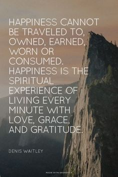 Happiness cannot be traveled to, owned, earned, worn or consumed. Happiness is the spiritual experience of living every minute with love, grace, and gratitude.