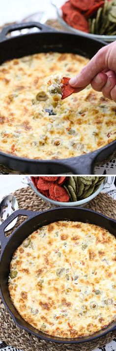 This recipe for Warm Cheesy Olive Dip is the perfect warm, gooey appetizer for chilly fall days! Serve this at all of your fall and holiday parties!