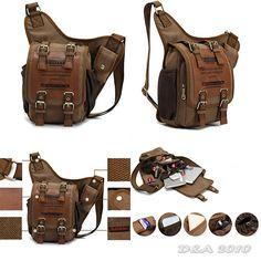 Mens Boys Vintage Canvas Leather Shoulder Military Messenger Briefcases Bag