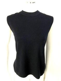 ST. JOHN BASICS ; Black SANTANA KNIT SLEEVELESS TANK TOP SWEATER SHIRT~L $44.70