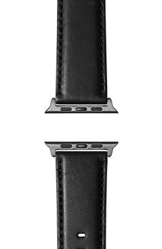 Shinola Aniline Leather Apple Watch Strap In Black/ Space Grey Plating Apple Watch Leather Strap, Black Space, Shinola, Coffee Maker, Plating, Jewelry Accessories, Watches, Grey, Products
