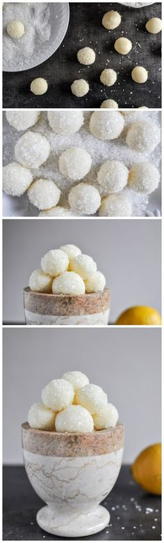Sparkly White Chocolate Lemon Truffles - they look like snowballs! A fun Christmas dessert! Just Desserts, Delicious Desserts, Yummy Food, Tasty, Small Desserts, Italian Desserts, Candy Recipes, Sweet Recipes, Dessert Recipes