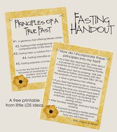 Little LDS Ideas: 'Principles Of A True Fast'  -- talk about before fast Sunday. Repeat.