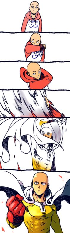 Saitama 's transformation. One Punch Man