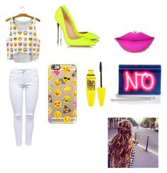 """NO"" by michelle-jovanovic ❤ liked on Polyvore featuring moda, Christian Louboutin, Lipsy, Jimmy Choo, Maybelline y Casetify"