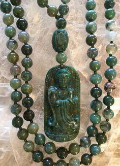 Moss Green Agate and Indian Bloodstone Mala/Prayer Beads by ManiMantraMala on Etsy