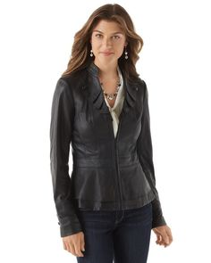 Black Leather Military Jacket