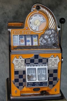 Antique Watling Rol A Top Slot Machine Checkerboard 5c Vintage Casino Gambling