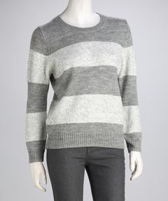 Take a look at this Heather Gray & Silver Elise Sequin Wool-Blend Sweater by Isaac Mizrahi New York on #zulily today!