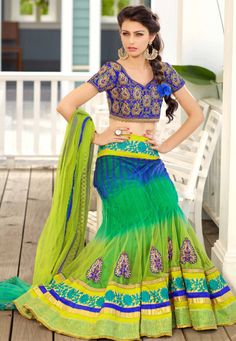 Desginer  Lehenga !Green And Blue Net Semi Stitch Lehenga with Blue Dhupion Choli And Green Net Dupatta  INR:-9910 With Exciting Discount 25% !!