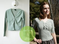 Pearls & Scissors: Refashionista: Cardigan into knitted top