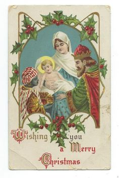Wishing You A Merry Christmas JM New York Printed Germany Postcard c.1910's • AUD 3.11 - PicClick AU