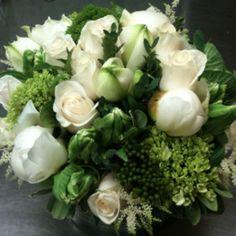 Fresh crisp white and citron green flowers.