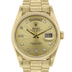 Rolex 18038 Day-Date 18k Yellow Gold Watch. Get the lowest price on Rolex 18038 Day-Date 18k Yellow Gold Watch and other fabulous designer clothing and accessories! Shop Tradesy now