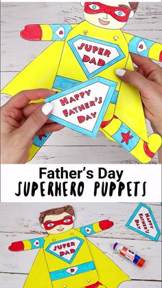 Show Dad he's a real superhero with fun Father's Day Superhero Puppets! Free printable templates in black and white and colour. 9 multicultural versions to choose from. Such a fun Father's Day gift idea for kids to make. Kids Fathers Day Crafts, Fathers Day Cards, Gifts For Father, Diy Crafts For Kids, Gifts For Kids, Kids Diy, Craft Ideas, Diy Father's Day Gifts, Father's Day Diy