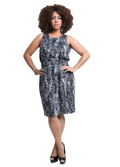 TD New York Curvy Women's Plus Size SOPHIA Sleeveless Dress in Python Animal Print *** For more information, visit now : Plus size dresses