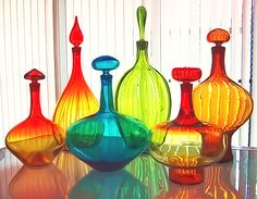 Colored Glass Bottles, Colored Vases, Blenko Glass, Bohemia Glass, Coat Of Many Colors, Fireplace Mirror, Modern Love, Mid Century Decor, Glass Ceramic