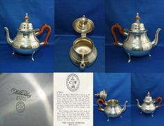 Vintage Authentic Williamsburg Restoration Stieff Pewter Wooden Handle and Knob… China Cups And Saucers, Orange Oil, Wooden Handles, Knob, Or Rose, Cup And Saucer, Wood Crafts, Pewter, Tea Pots